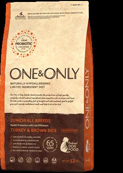 Сухой корм ONE&ONLY для юниоров всех пород от 4 месяцев с индейкой и рисом Junior Turkey/Rice - фото 14813