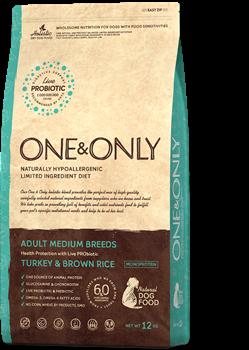 Сухой корм ONE&ONLY для взрослых собак средних пород с индейкой и рисом Adult All Breeds Turkey/Rice - фото 14817