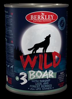 Консервы BERKLEY WILD Boar № 3 для щенков и собак Кабан с пастернаком, сладким луком и лесными ягодами - фото 14938