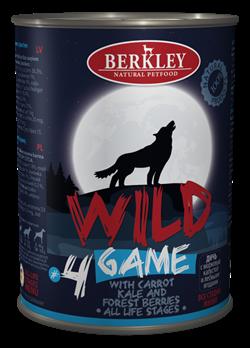 Консервы BERKLEY WILD GAME № 4 для щенков и собак Дичь с морковью, капустой и лесными ягодами - фото 14940