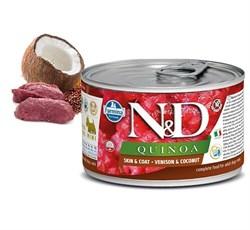 Консервы FARMINA ND DOG QUINOA VENISON/COCONUT MINI для взрослых собак малых пород с олениной, киноа и кокосом для кожи и шерсти - фото 14994