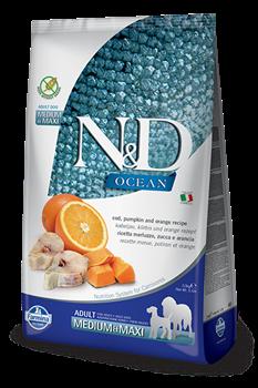 Беззерновой cухой корм FARMINA ND OCEAN для взрослых собак средних и крупных пород рыба с апельсином и тыквой - фото 15241