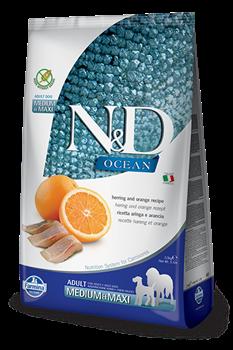 Беззерновой cухой корм FARMINA ND OCEAN для взрослых собак средних и крупных пород рыба с апельсином - фото 15253