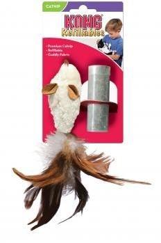 """Игрушка для кошек KONG """"Мышь полевка с перьями"""" 15 см с тубом кошачьей мяты - фото 15428"""