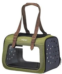Cкладная сумка-переноска Ibiyaya для собак и кошек до 6 кг 40 х 28 х 28 смЗеленая с прозрачными стенками