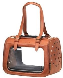Складная сумка-переноска Ibiyaya для собак и кошек до 6 кг Коричневая кожа с прозрачными стенками 40 х 28 х 28 см - фото 15669