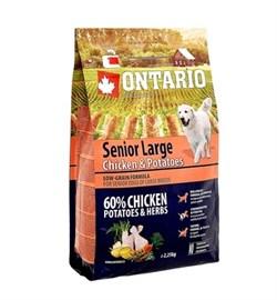 Сухой корм ONTARIO для пожилых собак крупных пород с курицей и картофелем - фото 17294