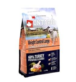 Сухой корм ONTARIO для взрослых собак крупных пород – контроль веса – с индейкой и картофелем - фото 17295