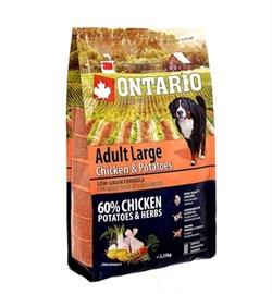 Сухой корм ONTARIO для взрослых собак крупных пород с курицей и картофелем - фото 17297
