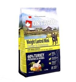 Сухой корм ONTARIO для взрослых собак малых пород – контроль веса – с индейкой и рисом - фото 17299