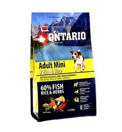 Сухой корм ONTARIO для взрослых собак малых пород 7 видов рыб и рис - фото 17300