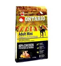 Сухой корм ONTARIO для взрослых собак малых пород с курицей и картофелем - фото 17301