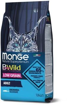 Низкозерновой сухой корм MONGE BWild для взрослых кошек с анчоусами Cat Anchovies - фото 17589