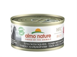 Консервы ALMO NATURE для взрослых кошек с тунцом и кальмарами HFC Jelly Adult Cat Tuna Squids