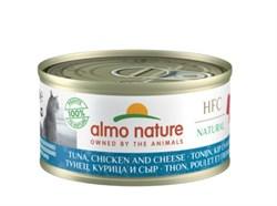 Консервы ALMO NATURE для взрослых кошек с тунцом курицей и сыром 75% мяса Legend Adult Cat Tuna Chicken Cheese