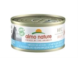Консервы ALMO NATURE для взрослых кошек с морепродуктами HFC Jelly Adult Cat Mixed Seafood