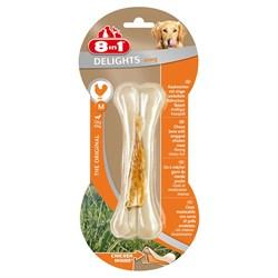 Косточка сверхпрочная для чистки зубов с куриным мясом для средних и крупных собак 8in1 DELIGHTS Strong M 14,5 см - фото 18612