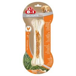 Косточка сверхпрочная для чистки зубов с куриным мясом для крупных собак 8in1 DELIGHTS Strong L  21 см - фото 18617