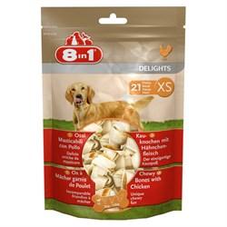 Косточки с куриным мясом для мелких собак 8in1 DELIGHTS XS 7,5 см 21 шт (пакет) - фото 18620