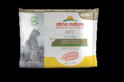 Набор паучей ALMO NATURE для взрослых кошек куриное филе 6 шт. по 55 гр. Multipack Classic Chicken Fillet