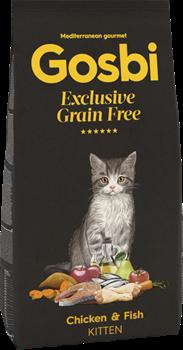 Беззерновой сухой корм GOSBI Exclusive GF для котят с курицей и лососем (Grain Free Kitten Chicken/Fish)
