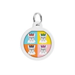 Адресник для собак и кошек WAUDOG Smart ID QR паспортом, рисунок Французский бульдог лицевая сторона