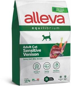 Сухой корм Alleva Equilibrium для взрослых кошек с олениной Sensitive Venison Adult Cat