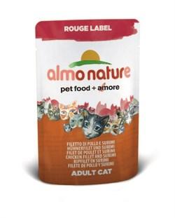 Пауч ALMO NATURE Rouge label Chicken Fille для взрослых кошек с куриным филе и крабовыми палочками - фото 4512