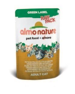 """Пауч ALMO NATURE Green label Chicken Breast 75% мяса для взрослых кошек """"Куриная грудка и утиное филе"""" - фото 4520"""