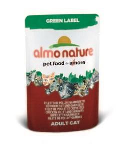 """Пауч ALMO NATURE Green label Cat Chicken Fillet&Shrimps 75% мяса для взрослых кошек """"Куриное филе и креветки"""" - фото 4521"""