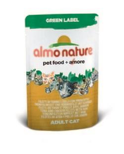 "Пауч ALMO NATURE Green label CatTuna Chicken and Ham 75% мяса для взрослых кошек ""филе тунца курицы и ветчина"" - фото 4522"