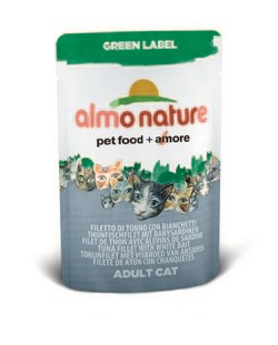 "Пауч ALMO NATURE Green label Cat Tuna Fillet White Bait 75% мяса для взрослых кошек ""филе тунца и сардинки"" - фото 4523"
