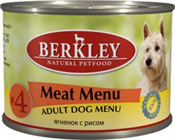 Консервы BERKLEY Adult Meat Menu №4 для собак с ягненком и рисом - фото 4540