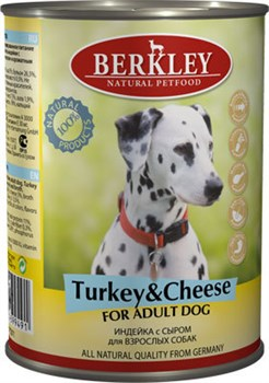 Консервы BERKLEY Adult Turkey Cheese для собак с индейкой и сыром - фото 4549