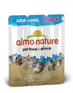 Колбаски Almo Nature для кошек   Курица , 3шт. (Azul Label Snack Cat Chicken), 15 гр. - фото 4572