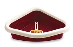 Туалет угловой Stefanplast Sprint Corner, с рамкой и совочком, бордовый, 40*56*14см (96604) - фото 4685