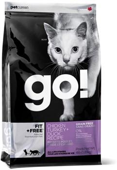Беззерновой сухой корм GO! NATURAL для котят и кошек – 4 вида мяса с курицей, индейкой, уткой и лососем - фото 4694