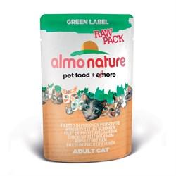 Пауч ALMO NATURE Green label Raw Pack Cat Chicken/Fish для взрослых кошек куриное филе с ветчиной 75% мяса - фото 4790