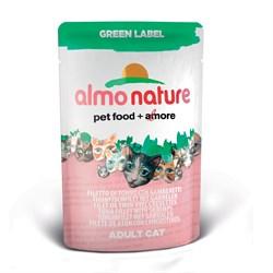 Пауч ALMO NATURE Green label Cat Tuna Fillet with Shrimps для взрослых кошек с филе тунца и креветками - фото 4793
