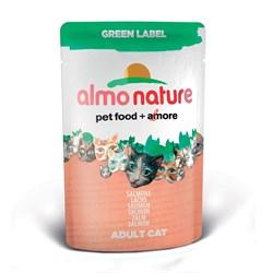 Пауч ALMO NATURE Green label Cat Salmon для взрослых кошек свежий лосось 75% мяса - фото 4806