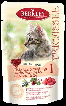 Пауч BERKLEY Fricassee Chicken Veal with Berries для котят №1 – цыпленок с телятиной и ягодами в желе - фото 4811