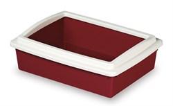 Туалет Stefanplast для кошек с рамкой №2, бордовый, 50*35*12см (96642) - фото 4832