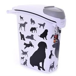 """Контейнер для корма Curver PetLife  """"Собаки""""  черно-белый, на10кг/23л, 23*50*50см - фото 8191"""
