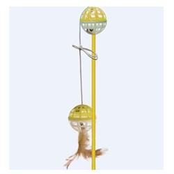 Удочка-дразнилка Зооник для кошек с мячом-забавой и пером - фото 8224