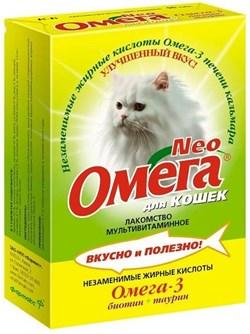 ОМЕГА NEO лакомство для кошек с биотином и таурином 90 таб. - фото 8256