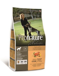 Беззерновой сухой корм PRONATURE HOLISTIC Adult Duck and Orange для взрослых собак всех пород с уткой и апельсинами - фото 8384