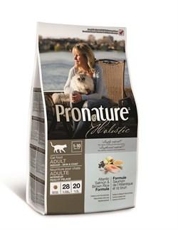 """Сухой корм PRONATURE HOLISTIC Adult Cat Salmon and Brown rice для здоровья кожи и шерсти взрослых кошек """"Атлантический лосось и коричневый рисом"""" - фото 8437"""