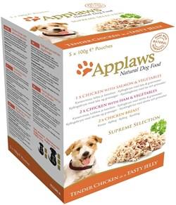 """Набор паучей APPLAWS Dog Jelly Pouch Supreme Selection в желе для собак """"Коллекция вкусов"""" набор 5 шт - фото 8700"""