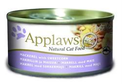 Консервы APPLAWS Cat Mackerel/Sweetcorn для взрослых кошек со скумбрией и сладкой кукурузой - фото 8719