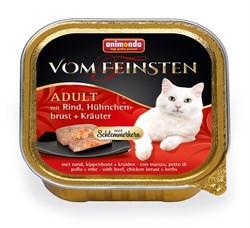 Консервы ANIMONDA Vom Feinsten Adult для взрослых кошек с говядиной, куриной грудкой и травами - фото 9450